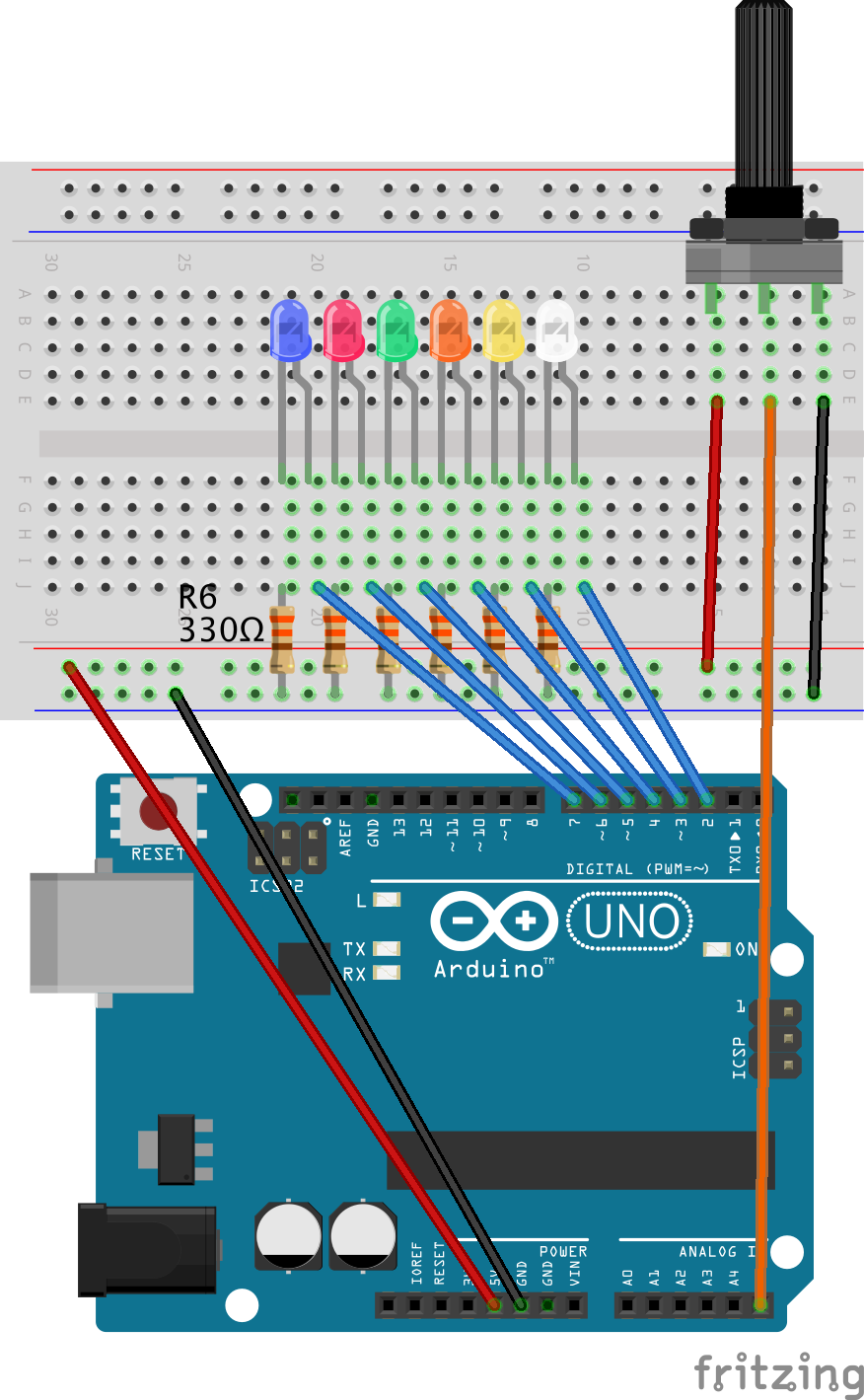 A Simple Circuit An Arduino And Haskell Dave2 1 Basiccircuit6leds View Full Size